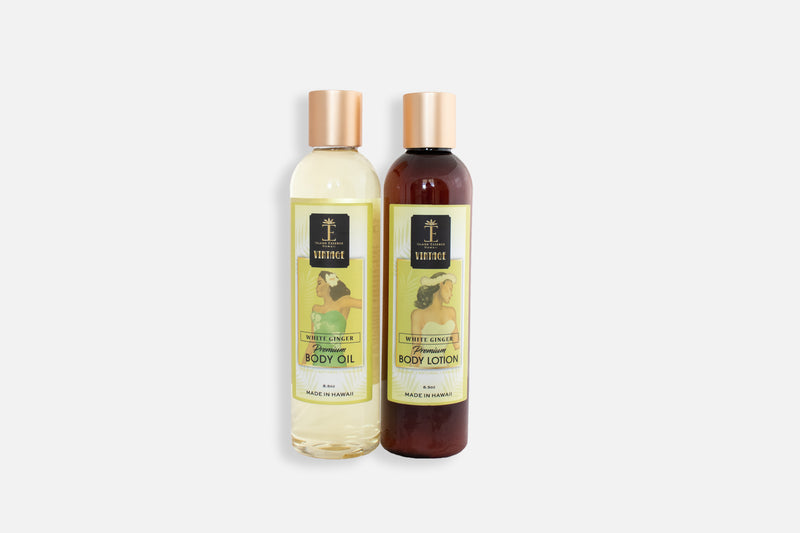 Vintage White Ginger Premium Body Oil and Body Lotion