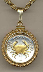 Gorgeous 2-Toned Gold on Silver Guernsey  Crab,  Coin Necklaces