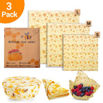 3Pcs/set Zero Waste Bee Wrap BPA Free Beeswax Food Wrap Fresh Keeping Reusable Sandwich Bag Bee Wax Paper Seal Storage Cover Bag