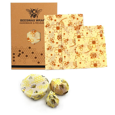 Beeswax Food Wrap (3 sizes) Set Eco-friendly Reusable Food Wraps Keep Food Fresh Longer Sandwich Wraps Non-toxic Food Storage Bag