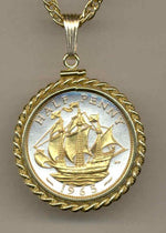 Gorgeous 2-Toned Gold on Silver British Sailing ship,  Coin Necklaces