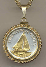 Gorgeous 2-Toned Gold on Silver Bahamas Sail boat,  Coin Necklaces