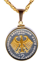 Gorgeous 2-Toned Gold on Silver German  2 mark Eagle,  Coin Necklaces