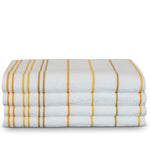 Luxury Hotel & Spa Towel Turkish Cotton Pool Beach Towels - Yellow Gold - Striped - Set of 4
