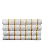 Luxury Hotel & Spa Towel Turkish Cotton Pool Beach Towels - Yellow - Striped - Set of 4