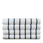 Luxury Hotel & Spa Towel Turkish Cotton Pool Beach Towels - Navy Blue- Striped - Set of 4