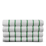 Luxury Hotel & Spa Towel Turkish Cotton Pool Beach Towels - Kely Green - Striped - Set of 4