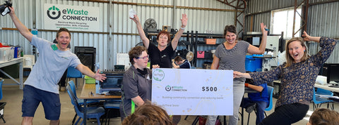 ReThink Store presenting a cheque to e-Waste Connection