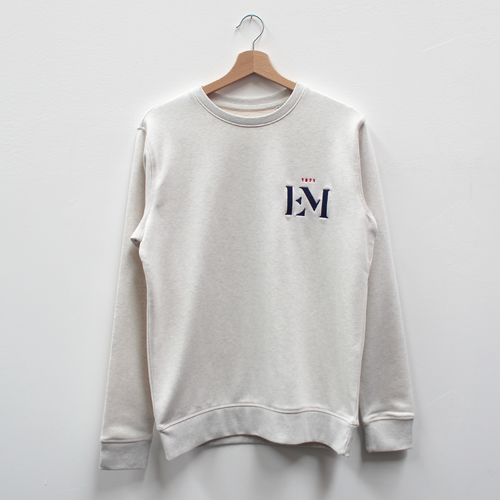Pull col rond cream heather grey