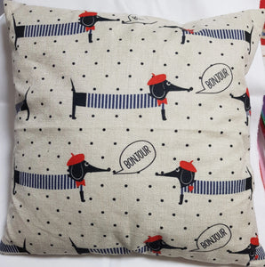 Frenchie Dachshund Throw Cushion Cover