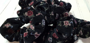 Black Velvet Rose Scrunchie