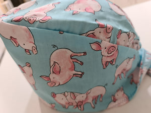 Pale Blue Pigs Scrub Cap