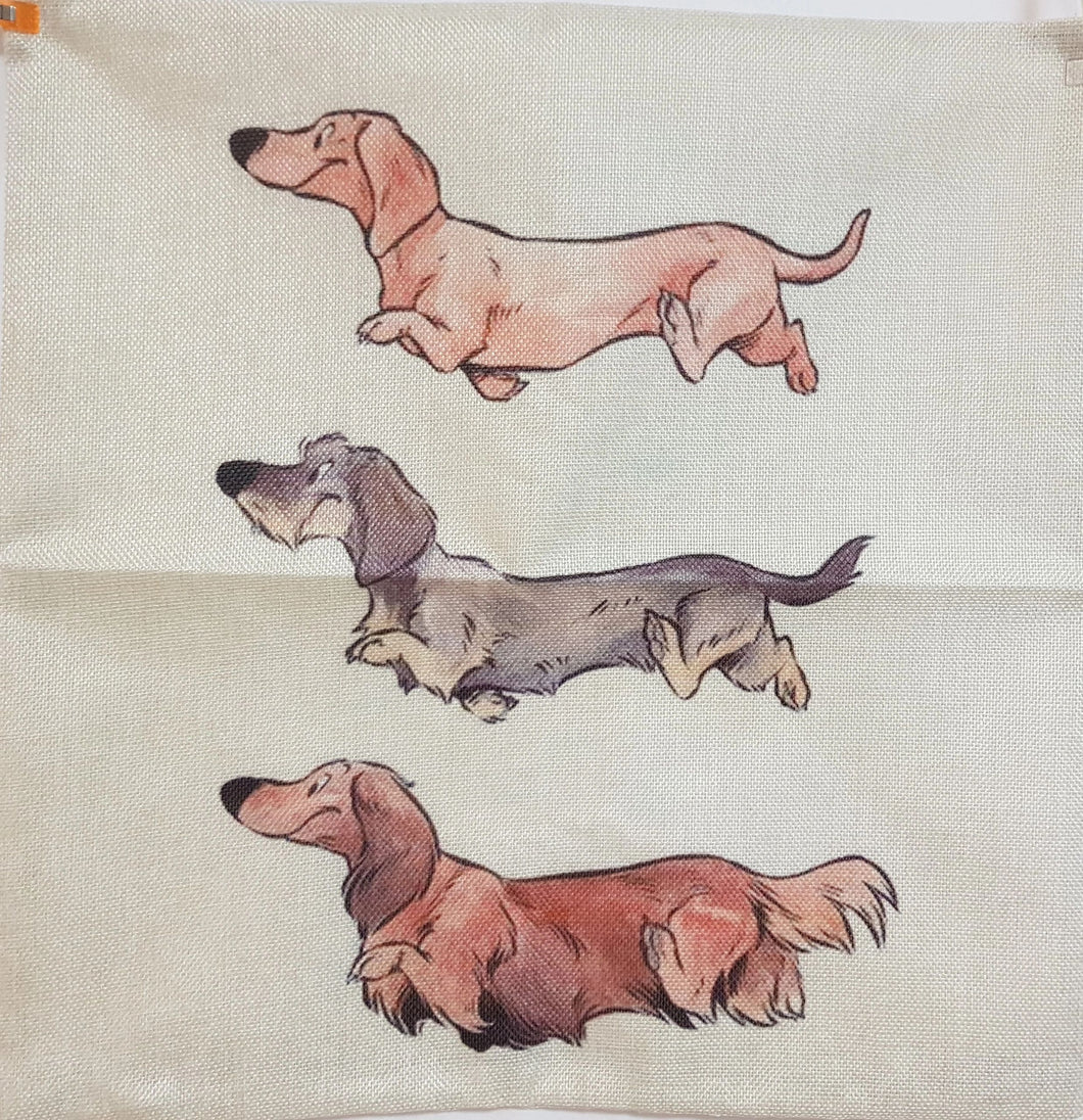 Triple Trouble Dachshund Throw Cushion Cover