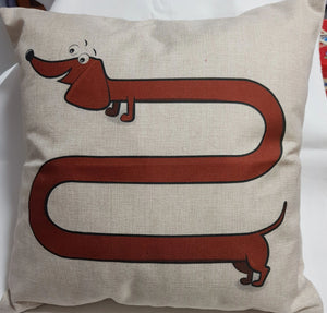 Tan Long Dog Dachshund Throw Cushion Cover