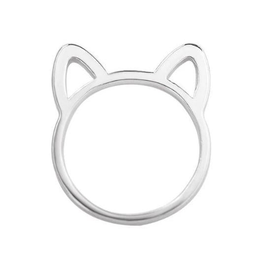 Adorable Cat Ears Ring.silver.Catlive2