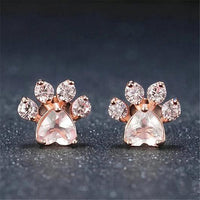 Cat Footprint Earrings in Rose Gold.Catlive.2