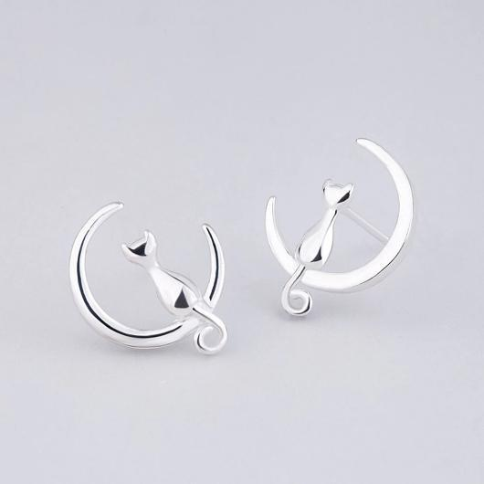 Cat Moon Earrings in Sterling Silvers.Catlive.2