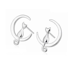 Cat Moon Earrings in Sterling Silvers.Catlive.3