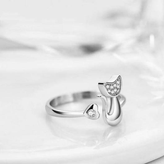 Cat Ring Plated in 925 Sterling Silver.Catlive.4