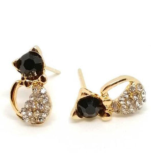 Cat jewelry 18 k Golden Cat Earring Cat Live.1