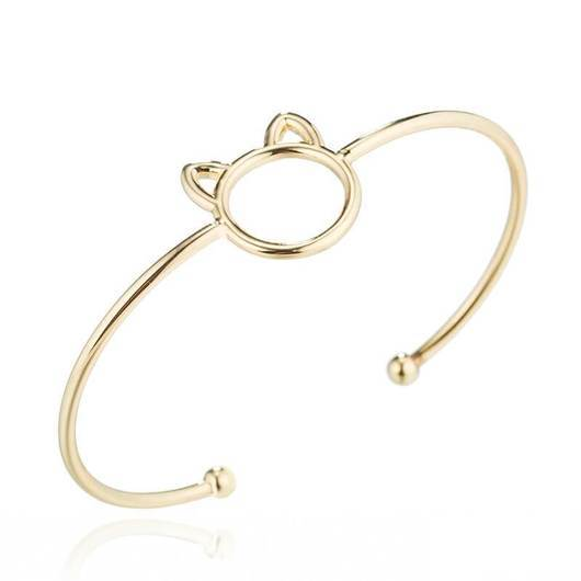 Charming Cat Cuff Bracelet In Sterling Silver and Gold.Catlive.1
