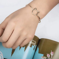 Charming Cat Cuff Bracelet In Sterling Silver and Gold.Catlive.3