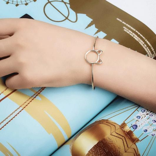 Charming Cat Cuff Bracelet In Sterling Silver and Gold.Catlive.4