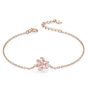 Charming Cat Paw Bracelet in 14k Rose Gold.Catlive.1
