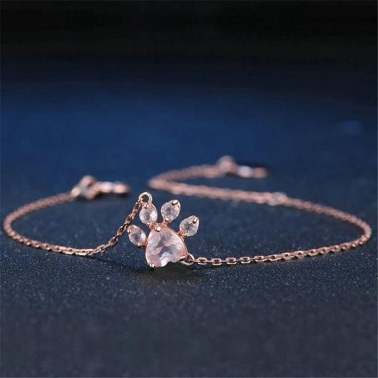 Charming Cat Paw Bracelet in 14k Rose Gold.Catlive.2
