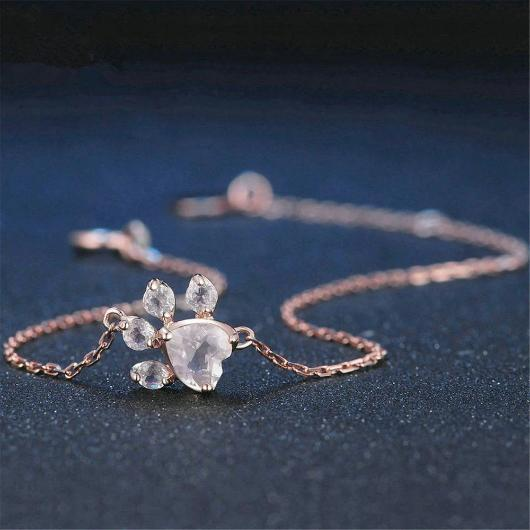 Charming Cat Paw Bracelet in 14k Rose Gold.Catlive.3