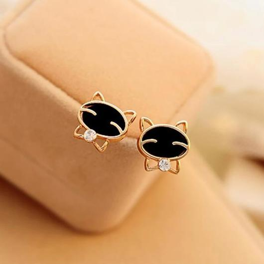 Cravat Cat Earring in 14k Gold.Catlive.1