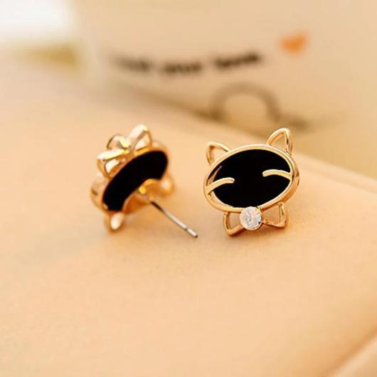 Cravat Cat Earring in 14k Gold.Catlive.2