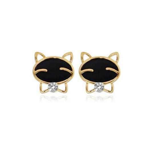 Cravat Cat Earring in 14k Gold.Catlive.4