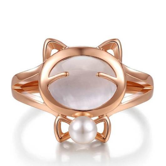 Cravat Cat Ring in Rose Gold.Catlive.3