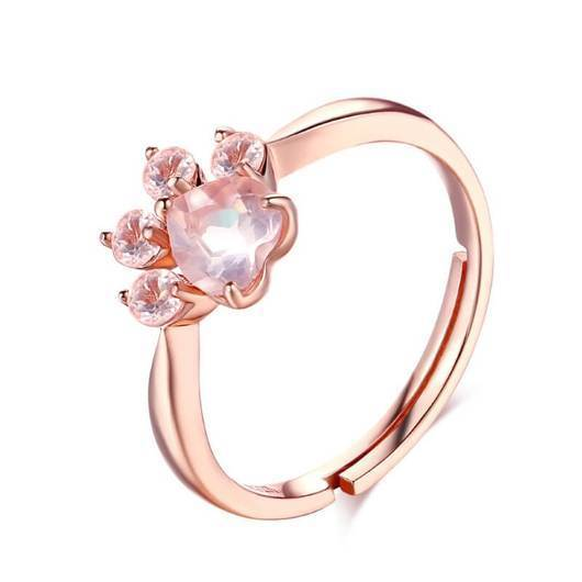 Cristal Cat Paw Ring in Rose Gold.Catlive.2