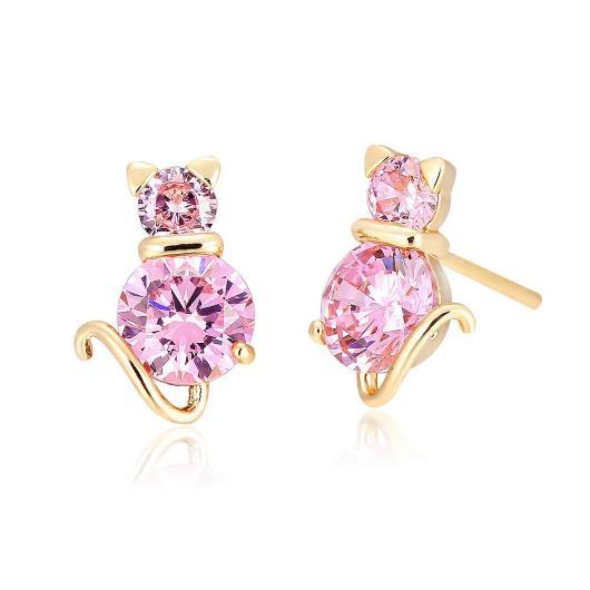 Crystal Pink Cat Earring in 18k Gold.Catlive.1