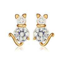 Crystal Pink Cat Earring in 18k Gold.Catlive.2