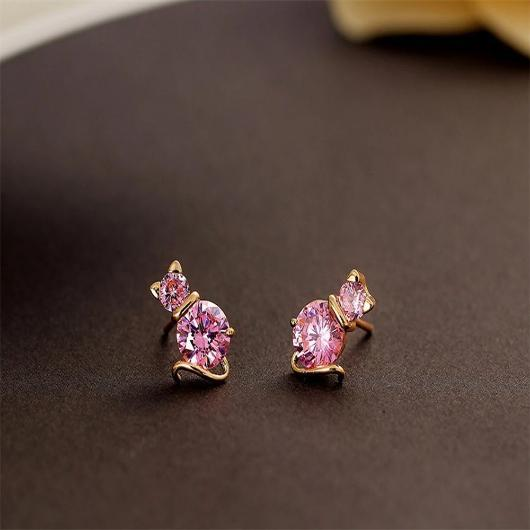 Crystal Pink Cat Earring in 18k Gold.Catlive.3