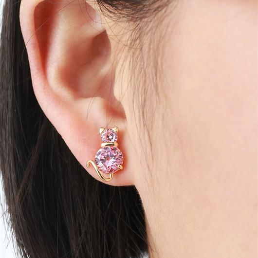 Crystal Pink Cat Earring in 18k Gold.Catlive.4