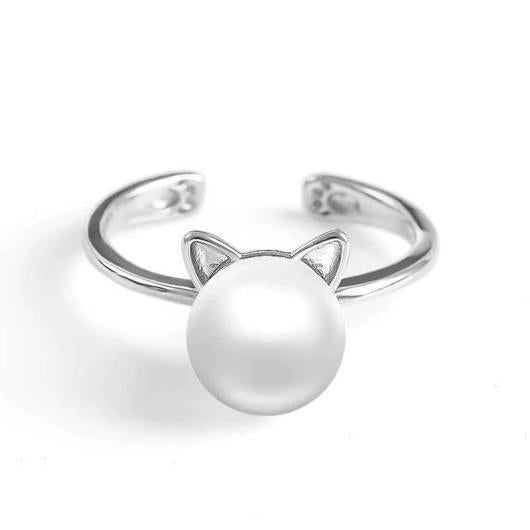 Cute Ears Pearl Cat Ring in Sterling Silver.Catlive.1