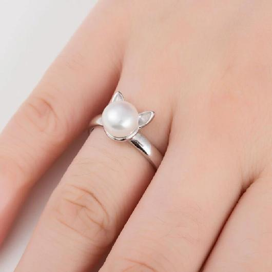 Cute Ears Pearl Cat Ring in Sterling Silver.Catlive.2