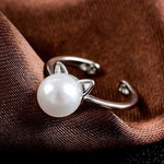 Cute Ears Pearl Cat Ring in Sterling Silver.Catlive.4