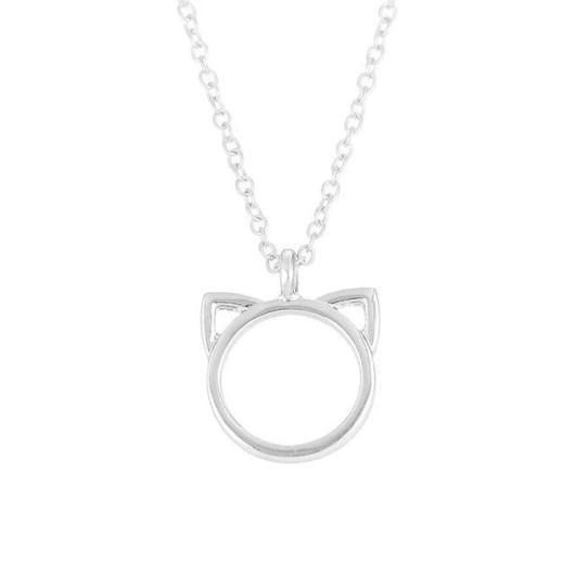 Elegant Cat Necklace in 14 k Gold and 925 Sterling Silver.Catlive.3