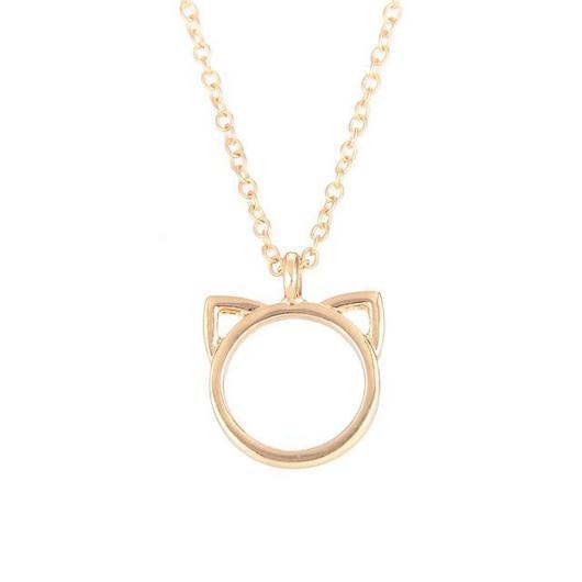 Elegant Cat Necklace in 14 k Gold and 925 Sterling Silver.Catlive.4