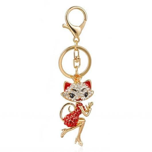 Golden Cat Keychain with Rose Quartz.Catlive.1