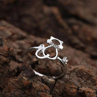 Hand Crafted Silver Cat Ring With Cubic Zirconia.Catlive.2