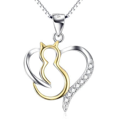 Heart Cat Necklace For women in 925 Sterling Silver Plated with 18k Gold.Catlive.1