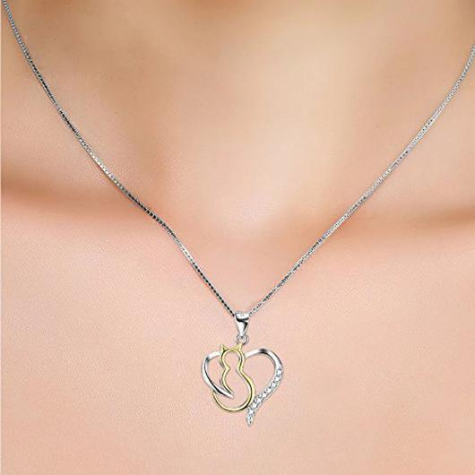 Heart Cat Necklace For women in 925 Sterling Silver Plated with 18k Gold.Catlive.2
