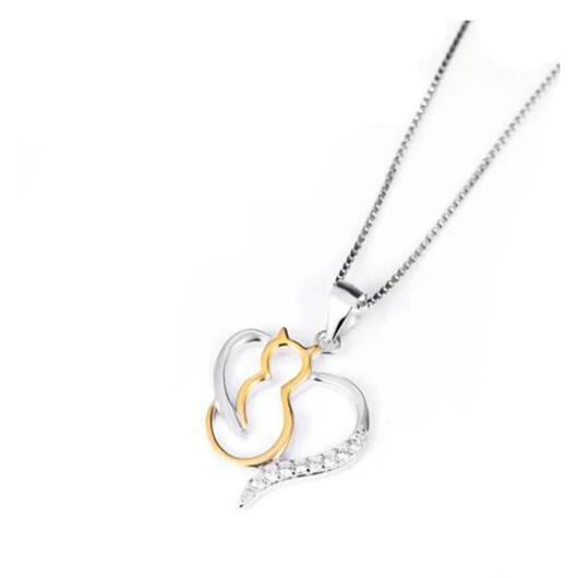 Heart Cat Necklace For women in 925 Sterling Silver Plated with 18k Gold.Catlive.3