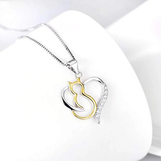 Heart Cat Necklace For women in 925 Sterling Silver Plated with 18k Gold.Catlive.4